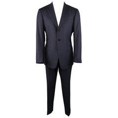 ERMENEGILDO ZEGNA 42 Navy Striped Wool / Silk Notch Lapel Cuffed Hem Suit