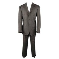 ISAIA 42 Regular Gray & Gold Pintripe Wool 3 Button Notch Lapel Suit
