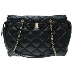 Salvatore Ferragamo Black Quilted Leather Ginette Chain Shoulder Bag