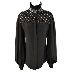 ALEXANDER MCQUEEN Size 12 Black Silk High Collar Quilted Pearl Stud Blouse