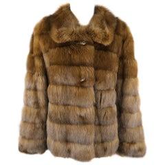 ALTIOLI Size L Brown Sable Fur Collared Jacket / Coat