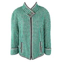 CHANEL Size 16 Green Black & White Fantasy Tweed Paris-Seoul Cruise 2016 Jacket