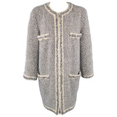 CHANEL Size 14 Fall 2014 Supermarket Cream & Black Lavender Tinsel Tweed Coat