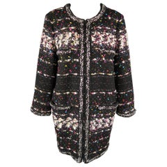 CHANEL Size 14 Black & Multicolor Metallic Tweed Fall 2014 Supermarket Coat