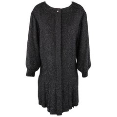 CHANEL Size 8 Navy Glitter Knit Fall 2013 Drop Waist Dress