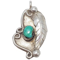 Native American Navajo Leaf Motif Turquoise Pendant in Sterling Silver