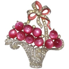 Collector's Berry Basket Pin Brooch With Open Back Raspberry Moonglow Cabochons