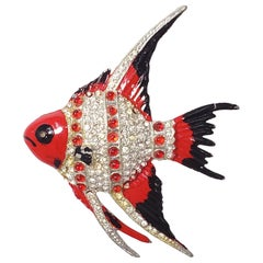 Collector's Exotic Coral Reef Fish Pin Brooch, Crystals and Enamel, Mid 1900s