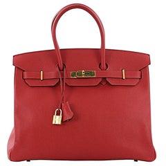 Hermes Birkin Handbag Rouge Casaque Epsom with Gold Hardware 35