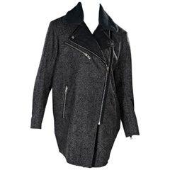Grey Rag & Bone Wool Moto Overcoat