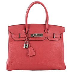 Hermes Birkin Handbag Bouganvillier Togo with Palladium Hardware 30
