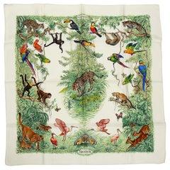 Hermes Vintage Silk Carre Scarf Equateur by Robert Dallet
