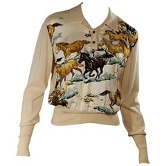 Cream Hermes Horse Silk & Wool Sweater