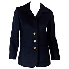 Navy Blue Hermes Wool Jacket