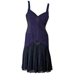Purple Zac Posen Pleated Silk Dress