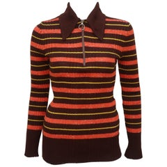 1970's Italian Ribbed Knit Brown Striped Skinny Top