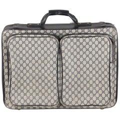 Gucci Vintage Blue GG Monogram Canvas Suitcase Travel Bag