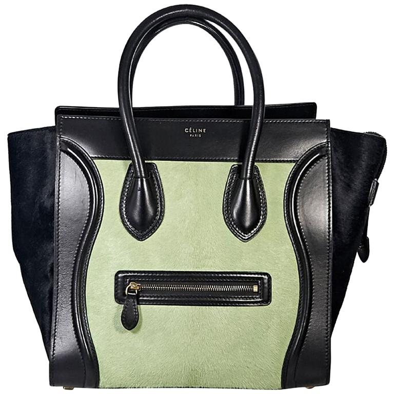 Black and Mint Green Celine Pony Hair Luggage Bag For Sale at 1stdibs 65600912aad4c