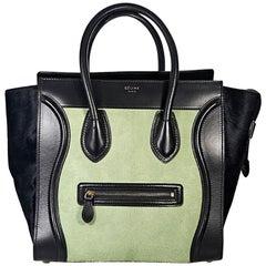 Black & Mint Green Celine Pony Hair Luggage Bag