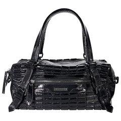 Black Burberry Patent Leather Shoulder Bag