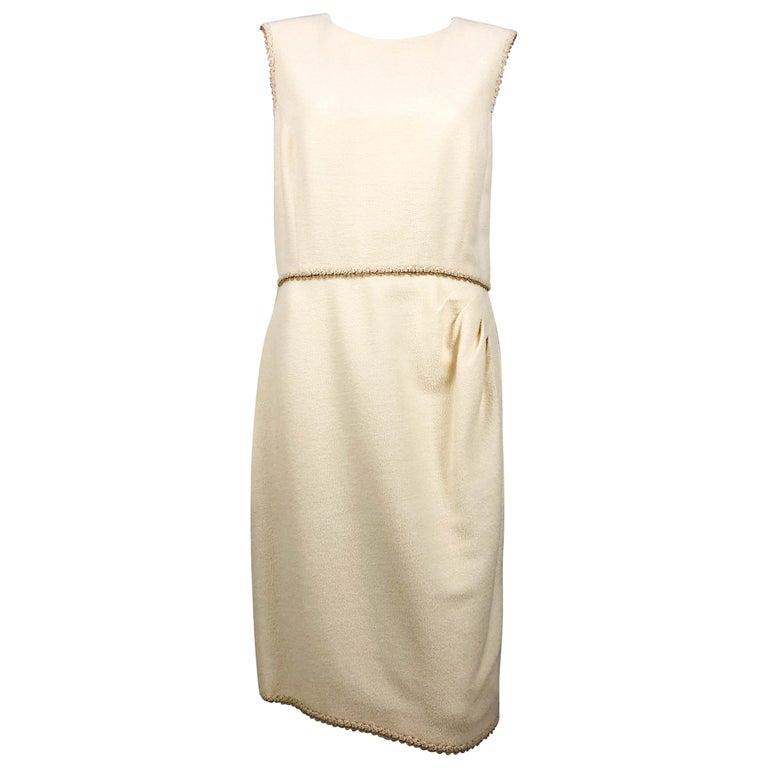 2010 Unworn Chanel Runway Look Cream Dress With Gold Thread Trim For Sale
