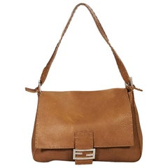Tan Fendi Leather Selleria Shoulder Bag
