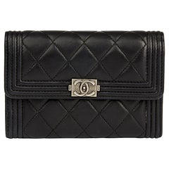 2014 Chanel Black Quilted Lambskin Boy Flap Wallet