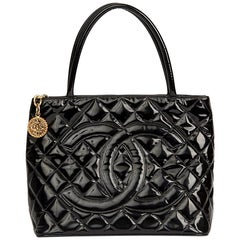 2002 Chanel Black Quilted Patent Leather Classic Gold Medallion Tote