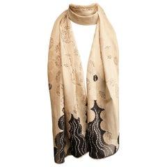 Georgina von Etzdorf Long Beige and Black Leaf Design Silk Scarf