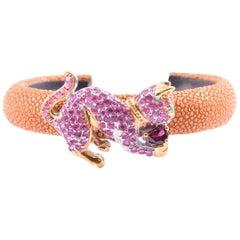 Chic Shagreen Cuff Bracelet-Gold Sterling Gemstone Cat