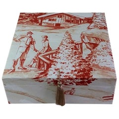 Winter Pattern Fabric Decorative Storage Box for Scarves
