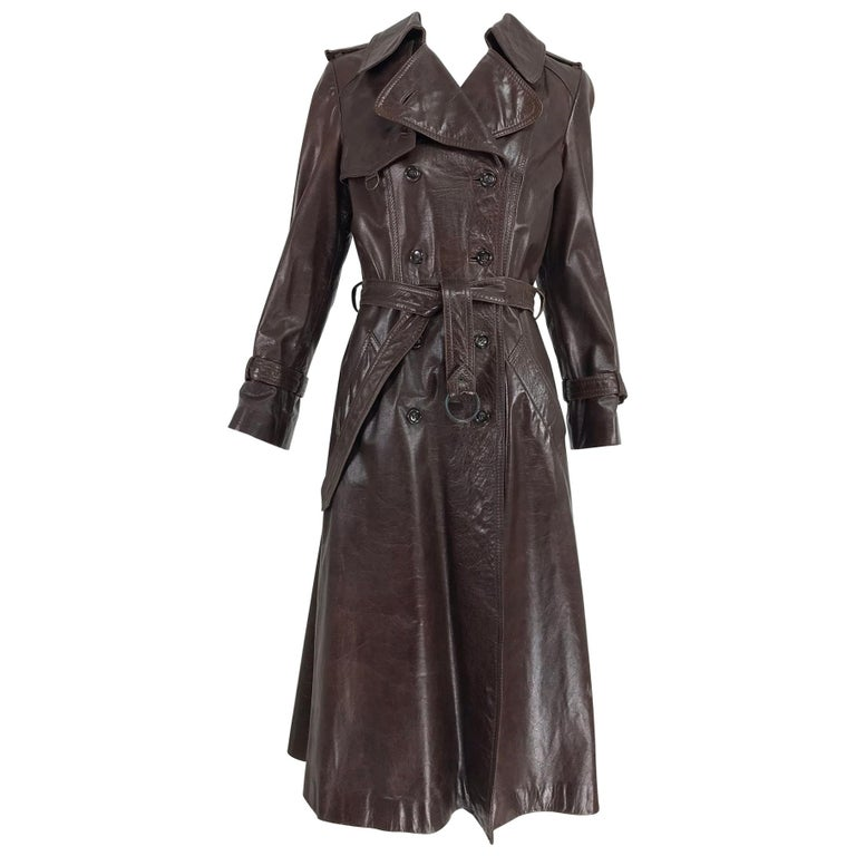 840e1ec2d4 Anne Klein Chocolate brown leather trench coat 1970s For Sale at 1stdibs