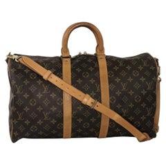 Louis Vuitton Monogram Keepall Bandoliere 45 Travel Top Handle Handbag