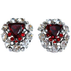 Circa 1930s Large Red Faceted Glass & Rhinestone Dress Clips, Pair