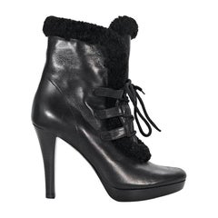 Black Fendi Shearling & Leather Ankle Boots