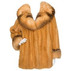 A 1980s Birger Christensen Dyed Canadian Fox Fur Coat S