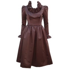 1970's Jill Richards Brown Satin Ruffled Collar & Cuffs Dress