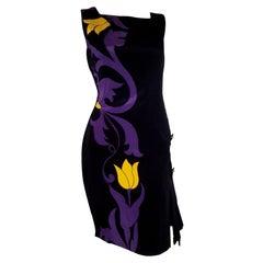 Versace Silk Black Dress W/ Tulip Flower Design & 4 Faux Side Pockets AW 11/12