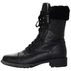 Chanel Black Leather/Shearling Trim Combat Boots Sz 42