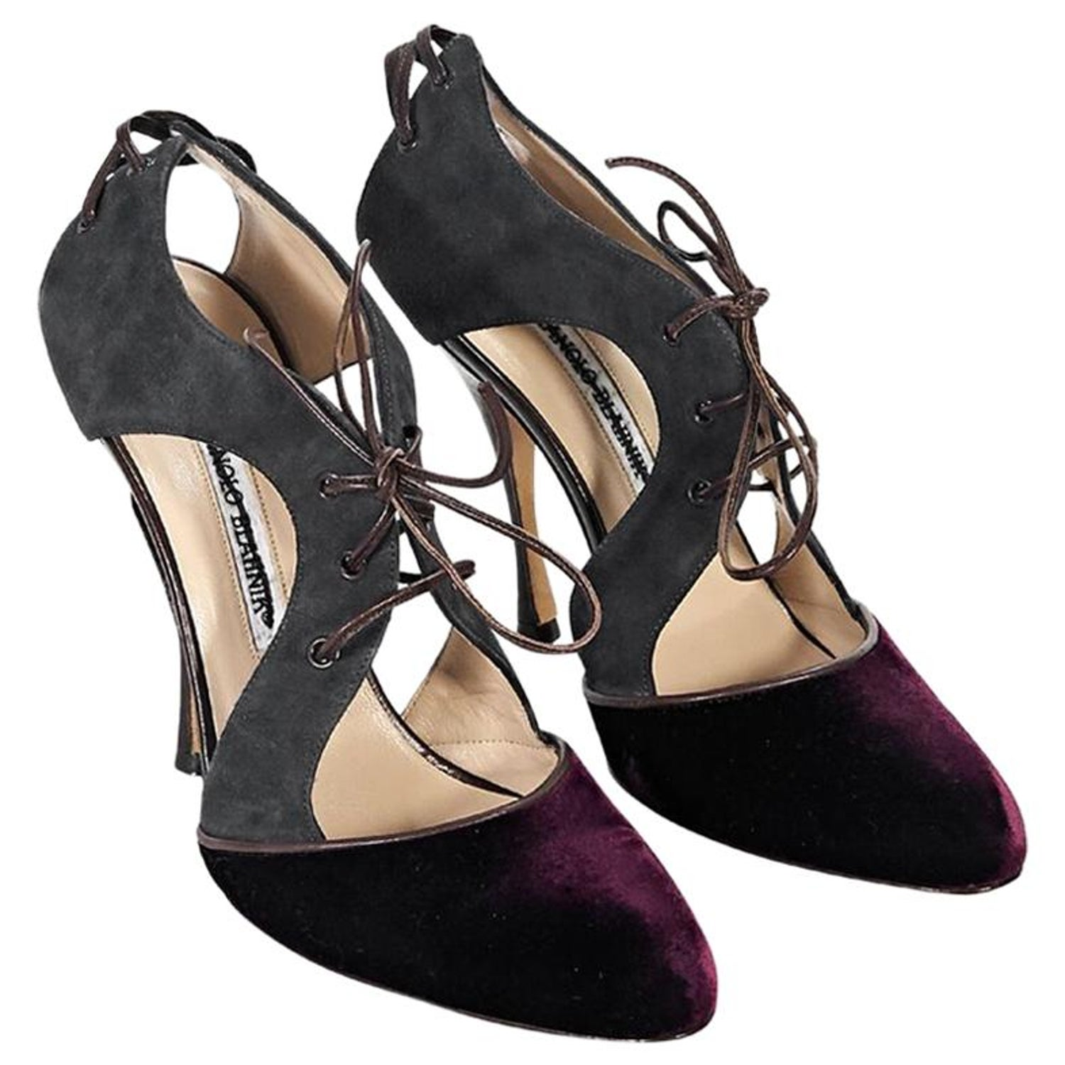 2bc6f014054ab Grey and Burgundy Manolo Blahnik Suede and Velvet Pumps at 1stdibs