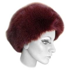 Pierre Balmain Haute Couture Vintage Fox Fur Burgundy Hat