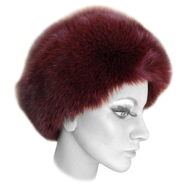 Pierre Balmain Haute Couture Vintage Fox Fur Burgundy Hat For Sale