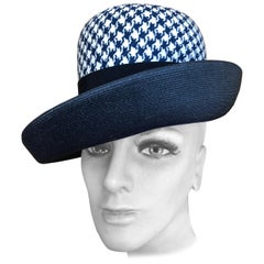 I. Magnin 1960 Deadstock Navy Houndstooth Straw Hat Designed by Patrice