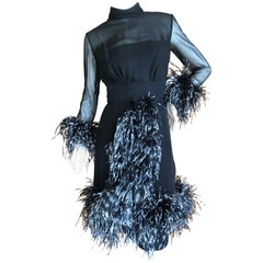 Louis Feraud Haute Couture Ostrich Feather Trim Black Cocktail Dress