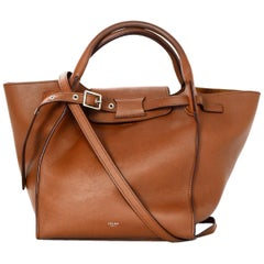 Celine 2018 Tan Leather Small Big Bag w/ Buckle & Strap
