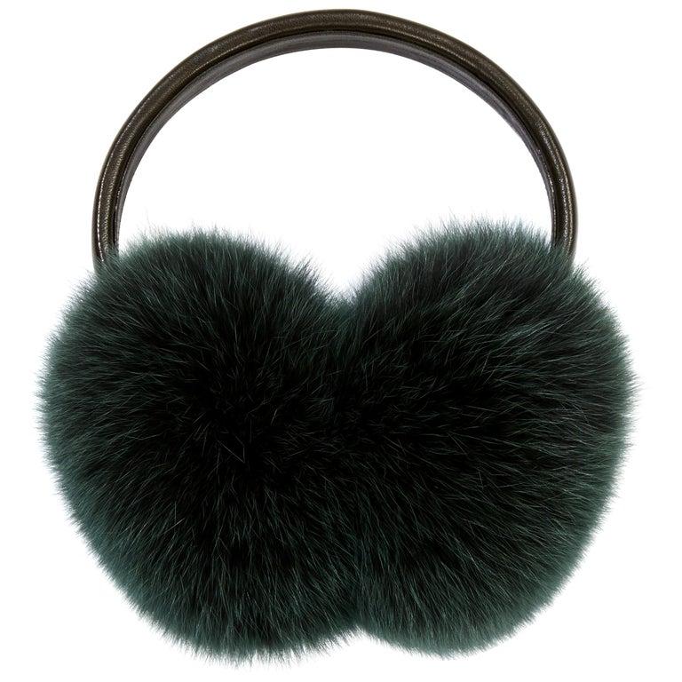 Verheyen London Ear Muffs in Olive Fox Fur For Sale