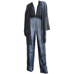 1970s Halston Beaded Plunge Jumpsuit and Draped Jacket