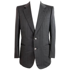 1980s Christian Dior Monsieur Jacket Pinstripe Silk Vintage Gray