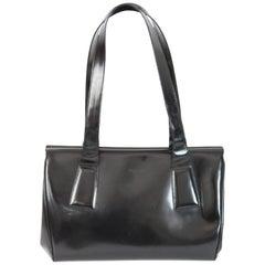 2000s Prada Doctor Bag Black Patent Leather Vintage