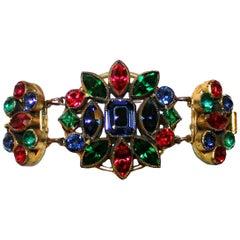 Circa 1930s Czech Jewel-Tone Faceted Bohemian Glass Bracelet